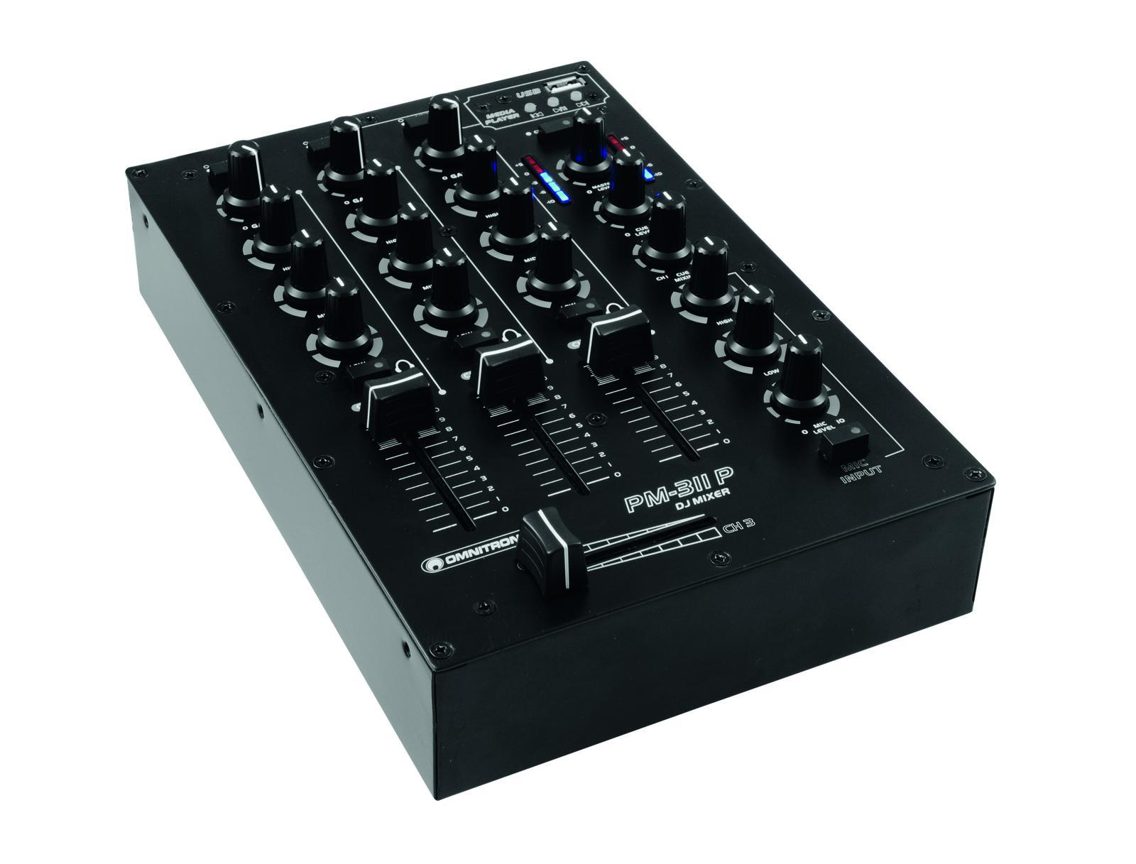 Omnitronic PM-311P, mixážní pult s MP3 přehrávačem