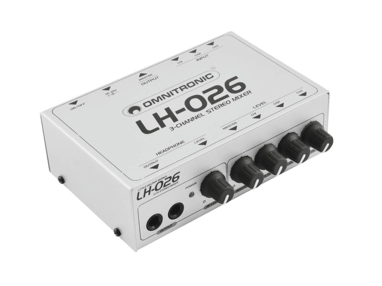Omnitronic LH-026, mini mixážní pult 3-kanálový stereo