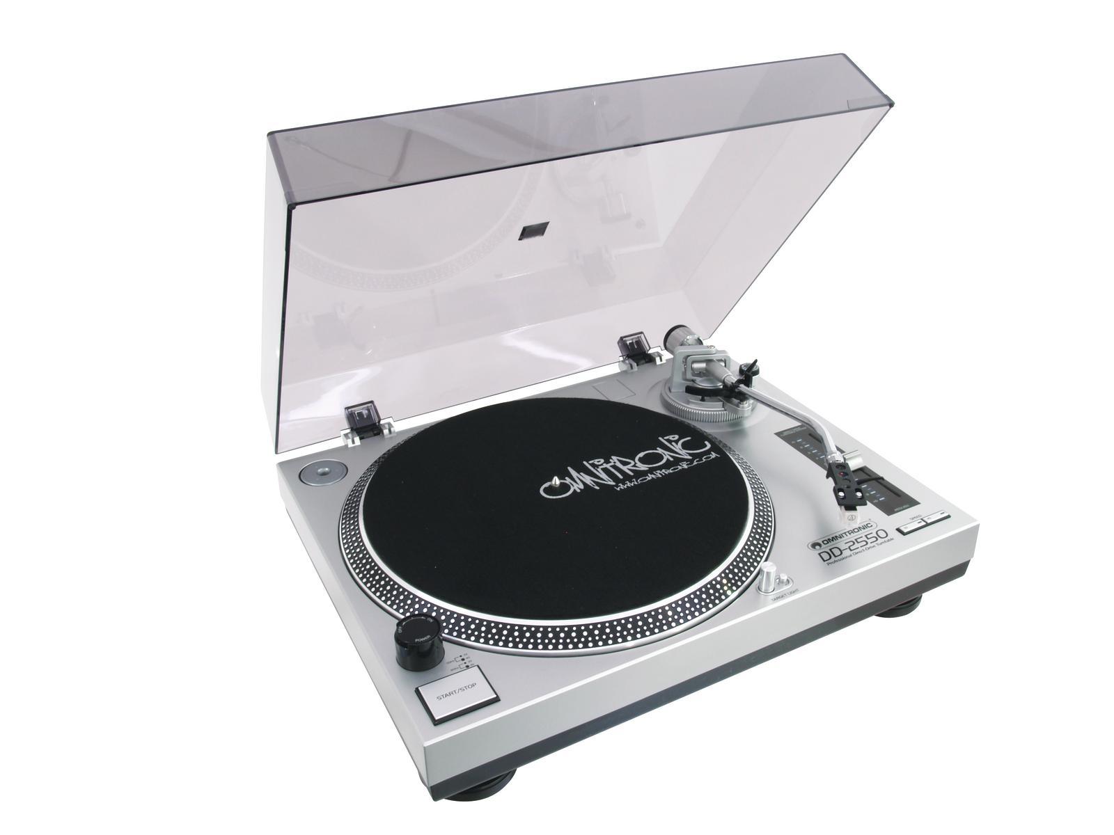 Fotografie Omnitronic DD-2550, gramofon s přímým pohonem-USB stříbrný