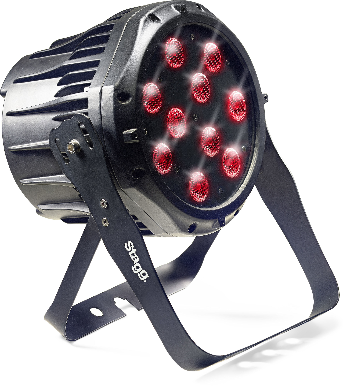 Fotografie Stagg LED PAR 10x8W QCL DMX černý, LED reflektor