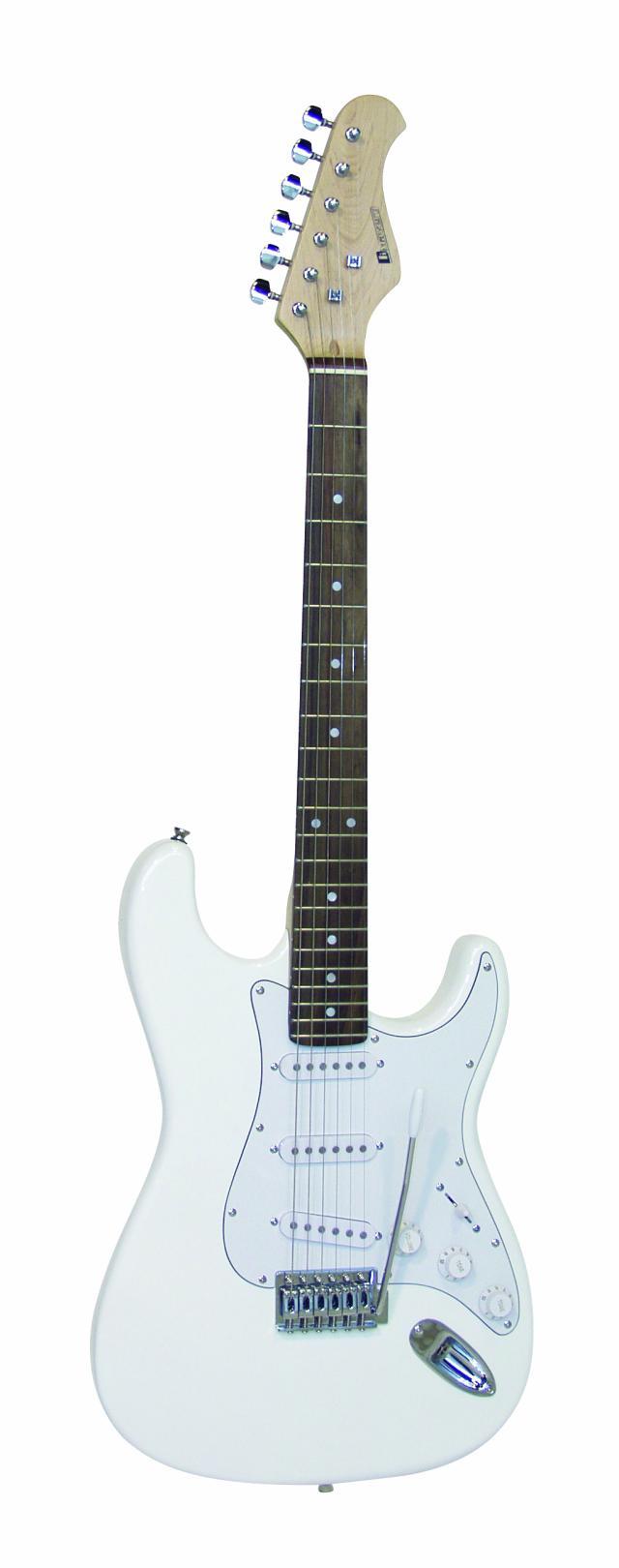 Dimavery ST-203, elektrická kytara, bílá