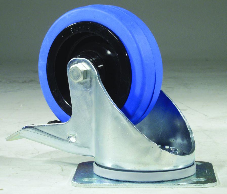 Fotografie Otočné kolečko modrý Wheel, 100mm s brzdou
