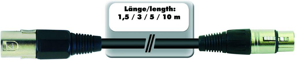 Kabel repro MC-215 XLR samec - XLR samice, 2x 1,5 qmm, 3 m