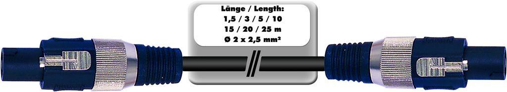 Repro kabel profesionální Speakon - Speakon, 2x 2,5 qmm, 1,5 m
