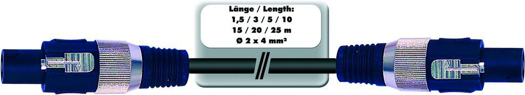 Repro kabel profesionální Speakon - Speakon, 2x 4qmm, 1,5 m
