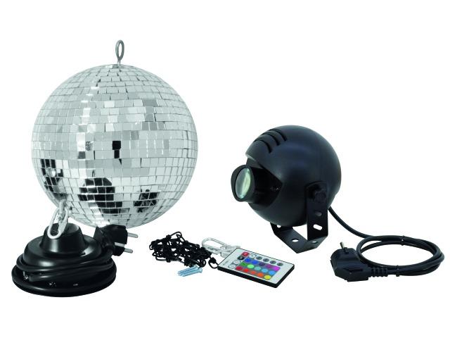 Set zrcadlová koule 20cm s LED RGB spot IR
