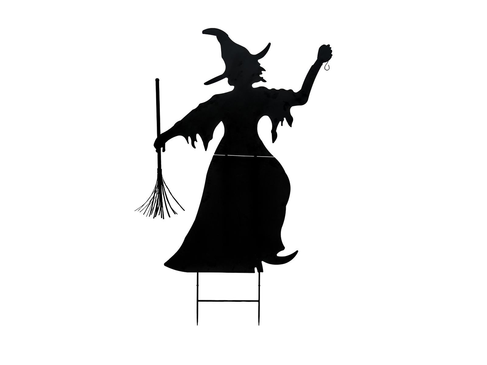Europalms kovová silueta čarodejnice s koštětem, černá, 150cm