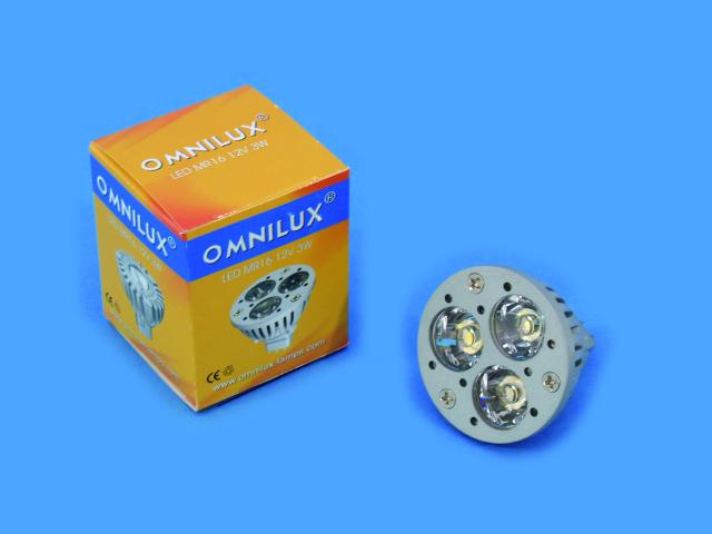 12V MR-16 GU-5.3 Omnilux, 3x1W LED 3000K