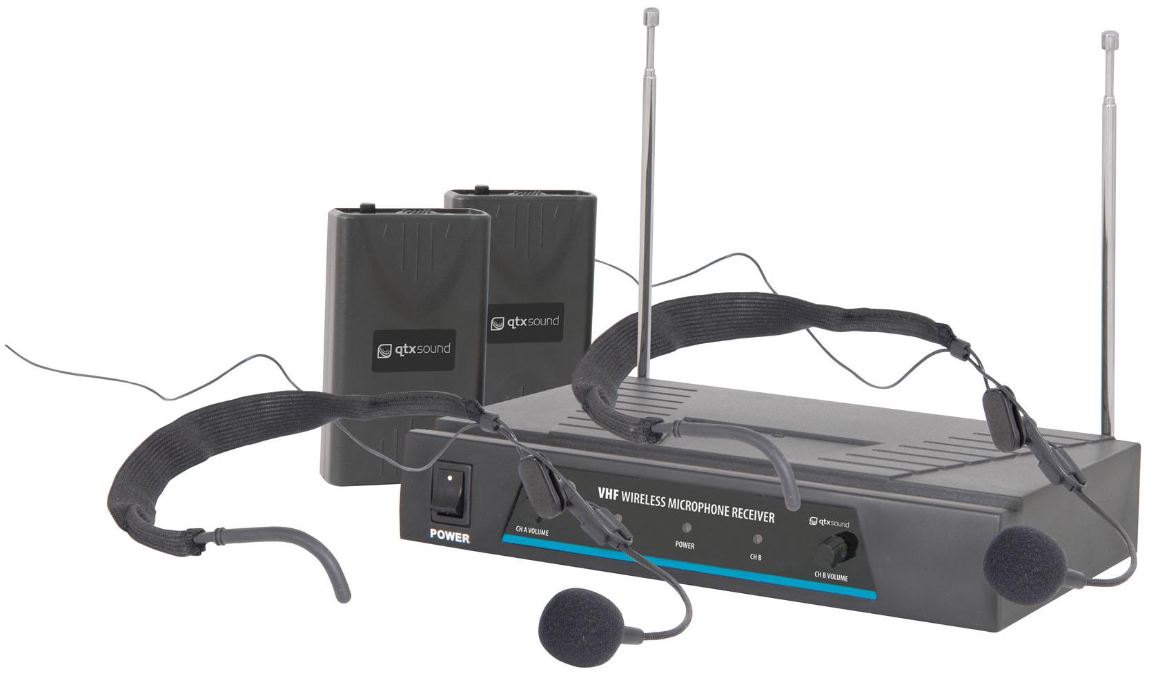 Fotografie QTX VHF-HS2, bezdrátový mikrofon 2 kanálový 174,1 + 175,0 MHz