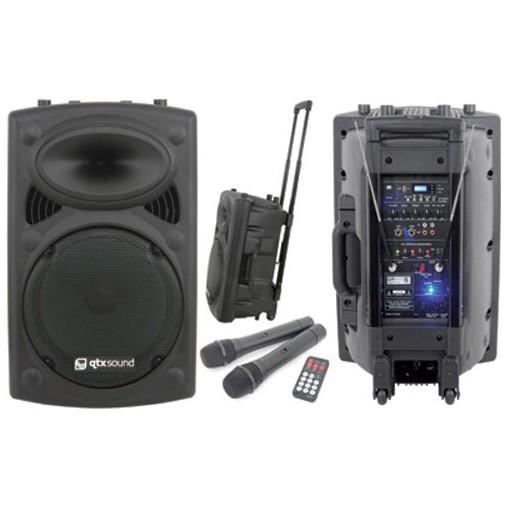 "QTX QR-15, mobilní 15"" řečnický systém SD-USB-2xVHF 250W"