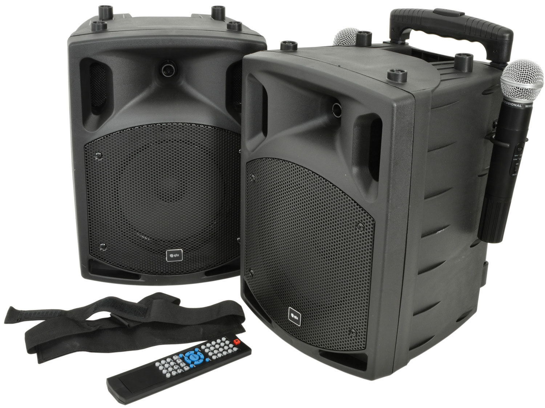 "QTX PAV-8, přenosný 8"" zvukový systém CD-DVD-USB-Bluetooth-2xUHF 1"