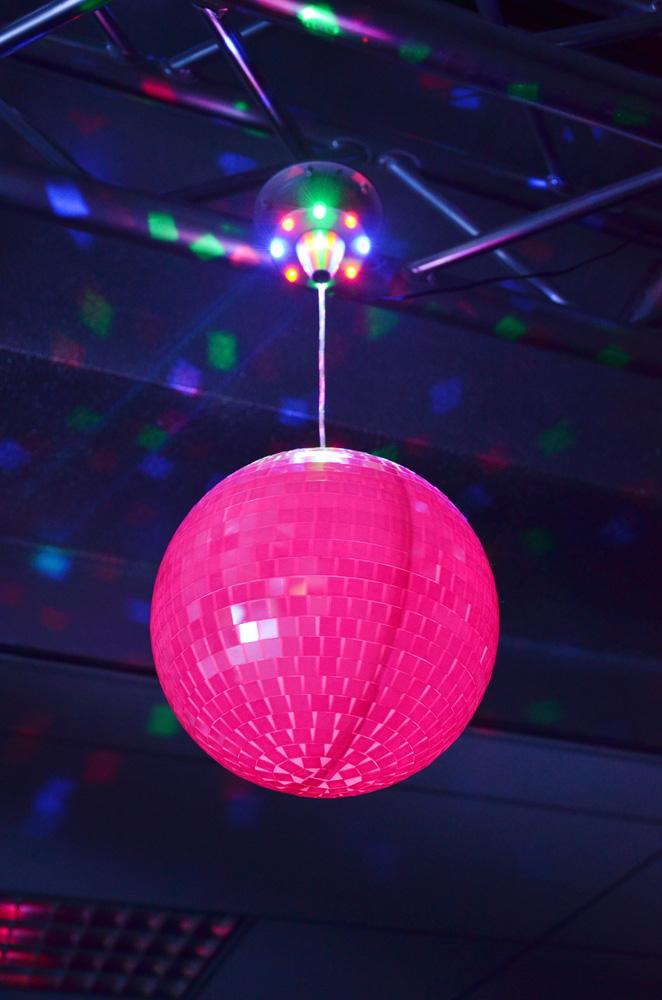 BeamZ Zrcadlová koule se zabudovanými LED diodami + motorek s RGB