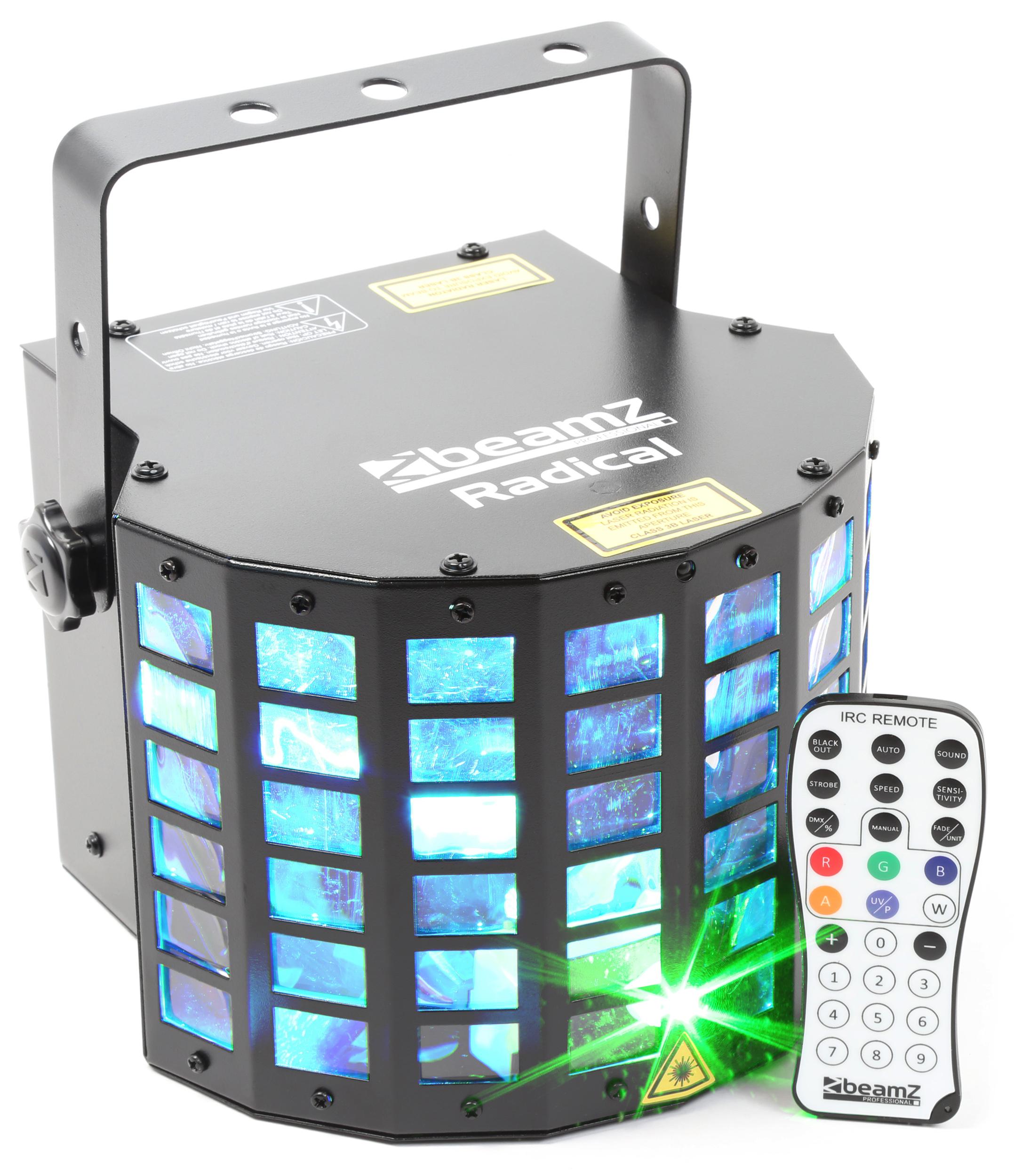 Fotografie BeamZ LED Derby 6x3W RGBAWP, Laser, IR, DMX, světelný efekt