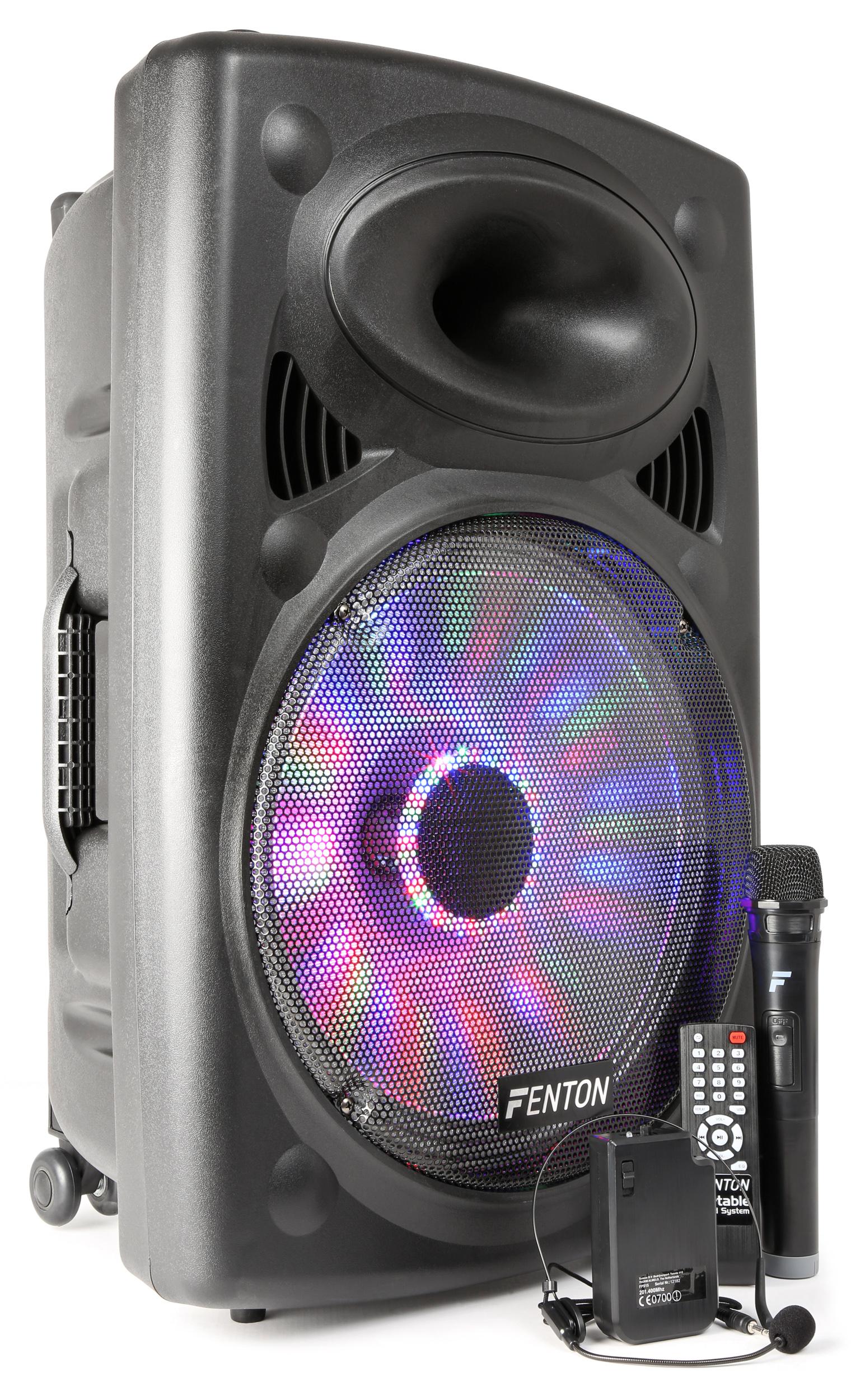"""Fotografie Fenton FPS15, mobilní 15"""" zvukový systém, BT/MP3/USB/SD/VHF/LED"""
