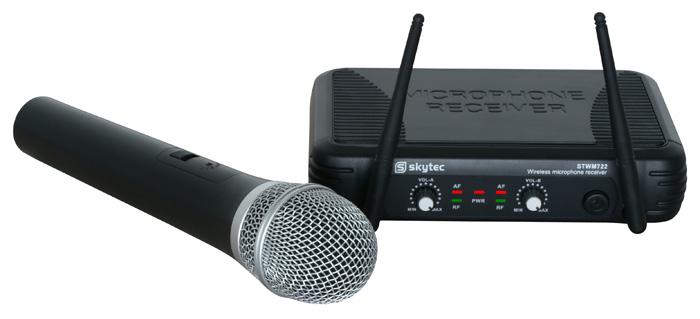 Skytec mikrofonní set UHF, 2 kanálový, 1x ruční mikrofon, 1x heads