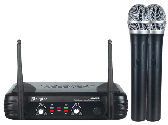 Skytec mikrofonní set UHF, 2 kanálový, 2x ruční mikrofon